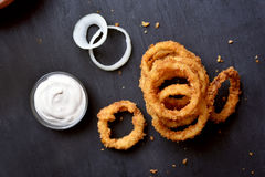 Crunchy fried onion rings Stock Images