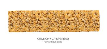 Crunchy gluten free crispbread with various seeds isolated. Crunchy gluten free crispbread with various seeds top view. Whole grain wheat crisp bread or cracker royalty free stock photo