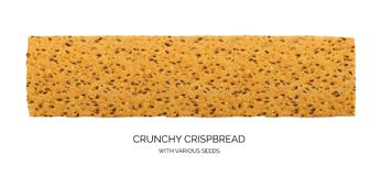 Crunchy gluten free crispbread with various seeds isolated. Crunchy gluten free crispbread with various seeds top view. Whole grain wheat crisp bread or cracker royalty free stock images
