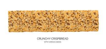 Crunchy glutenu bezpłatny crispbread z różnorodnymi ziarnami odizolowywającymi zdjęcie royalty free