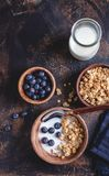Crunchy Granola Breakfast With Fresh Blueberries. Overhead view of a bowl of crunchy granola with fresh blueberries and milk royalty free stock images