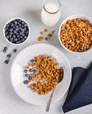 Crunchy Granola Breakfast With Fresh Blueberries. Overhead view of a bowl of crunchy granola with fresh blueberries and milk royalty free stock photos