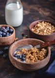 Crunchy Granola Breakfast With Fresh Blueberries. Crunchy granola with fresh blueberries and milk in a wooden bowl royalty free stock photo