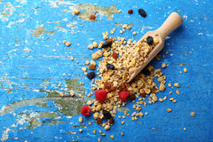 Crunchy granola with raisins and berry Royalty Free Stock Photo