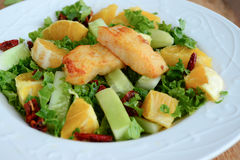 Crunchy green salad with pecans ,sweet lime and fish. Crunchy green salad with sweet lime,fish, pecans and cucumber served fresh with a dash of lime royalty free stock photo