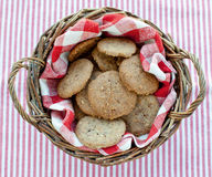 Crunchy home made cookies top view. Crunchy home made cookies in basket top view Royalty Free Stock Photo