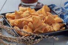 Crunchy kukurydzana rożek przekąska fotografia stock