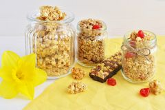 Crunchy and muesli bar Royalty Free Stock Images