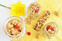 Crunchy and muesli bar top view Royalty Free Stock Photos