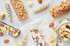 Crunchy and muesli bars Stock Photos