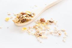 Crunchy muesli on clean white background Royalty Free Stock Image