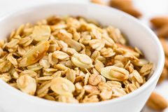 Crunchy Oatmeal and Almond Granola royalty free stock images