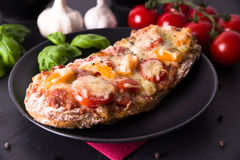 Crunchy pizza baguette with tomatoes and paprika Royalty Free Stock Photos