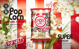 Crunchy popcorn ads. With scallion elements  on white and red stripes background, 3d illustration Royalty Free Stock Photography