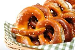 Crunchy pretzels. Fresh baken pretzels in a small basket, fresh pretzels from Upper Bavaria Stock Photography