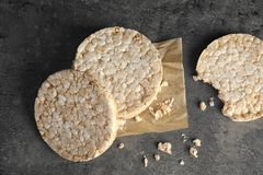 Crunchy rice cakes on grey background. Top view royalty free stock images