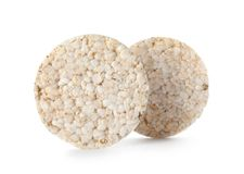 Crunchy rice cakes on white background. Healthy snack stock image