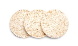 Crunchy rice cakes on white background. Top view royalty free stock photos