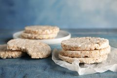Crunchy rice cakes on wooden table. Healthy snack royalty free stock photos