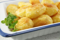 Crunchy Roast Potatoes. Crunchy, golden roast potatoes, garnished with thyme, ready to serve stock photo