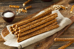 Crunchy Salty Pretzel Rods royalty free stock images