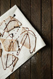 Crunchy shortbread cookies with chocolate sauce Stock Photos
