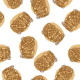 Crunchy spekulatius biscuits seamless pattern on white background. Vector royalty free illustration