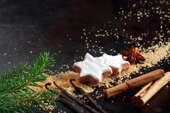 Crunchy Star Shaped Christmas Biscuits Stock Photography