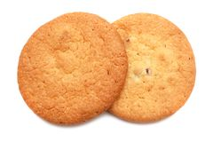 Crunchy sugar cookies on white background Royalty Free Stock Image