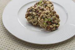 Crunchy sweet. Made of dry fruits Stock Photo