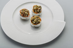 Crunchy sweet. Made of dry fruits set in cup Stock Photos