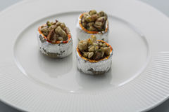 Crunchy sweet. Made of dry fruits set in cup Stock Images