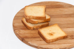 Crunchy toast bread on the wooden board Royalty Free Stock Photos