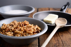 Crunchy walnuts ingredients Stock Photography