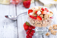 Crunchy Yoghurt with fresh fruits Stock Photos
