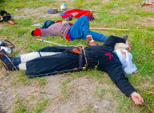 Crusade warriors resting Stock Images