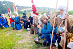 Crusader army line up for morning prayer Stock Photos