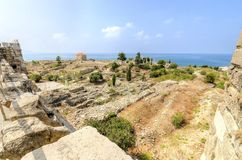 Crusader castle, Byblos, Lebanon. The crusaders\' castle in the historic city of Byblos in Lebanon. A view of the western part of the ancient site from the top Royalty Free Stock Photos