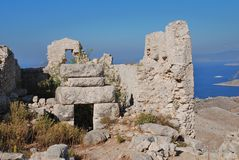 Crusader castle, Halki island Royalty Free Stock Photo