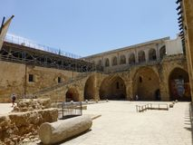 Crusader fortress in the town of Acre in the Middle East stock images