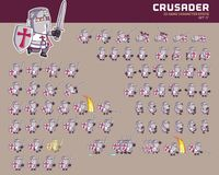Crusader Game Character Animation Sprite. Vector Illustration of Fun and Cute Crusader Game Character Animation Sprite Frames Royalty Free Stock Images