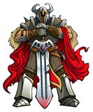 Crusader knight. With huge sword, vector illustration, gradients Royalty Free Stock Photo