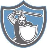 Crusader Knight Brandish Sword Shield Retro. Illustration of crusader knight in full armor brandishing a sword set inside shield crest facing front on isolated Royalty Free Stock Photos