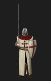 Crusader Knight Standing Guard Illustration. Crusader Templar guardsmen with sword and shield Stock Images
