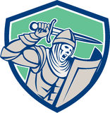 Crusader Knight With Sword and Shield Retro. Illustration of crusader knight in full armor with shield brandishing wielding a sword set inside shield crest shape Stock Photo
