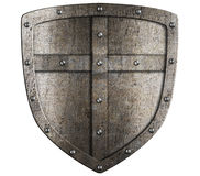 Crusader metal shield illustration isolated. On white Royalty Free Stock Image