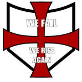 Crusader patch. With motto: We fall, We rise again Stock Images