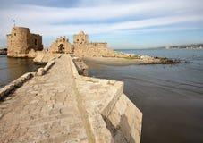 Crusader Sea Castle, Sidon-Lebanon. The ancient crusader sea castle with its stone ramparts (Sidon, Lebanon Stock Image