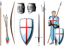 Crusader set. Collection of weapons and protective equipment Crusader, as well as the silhouette of knight Stock Photography