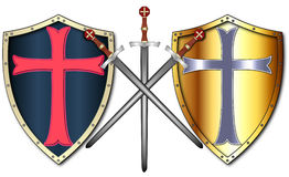Crusader Shields and Swords. Two different Crusader shields and three swords Stock Photos